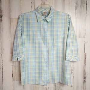 Size 22W Button Down Shirt 3/4 Sleeves Plaid